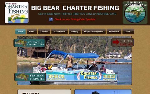 """Screenshot of Home Page bigbearbassfishing.com - """"Big Bear Lake Fishing Guide - Big Bear Charter Fishing"""" - captured Oct. 5, 2014"""