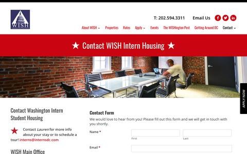 Screenshot of Contact Page internsdc.com - Intern Housing Washington DC | Contact - captured Oct. 19, 2017