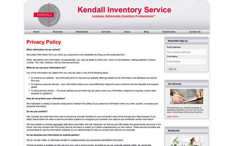 Screenshot of Privacy Page kendallinventoryservice.com - Kendall Inventory Services Online Privacy Policy | Kendall Inventory Service - captured Oct. 6, 2014