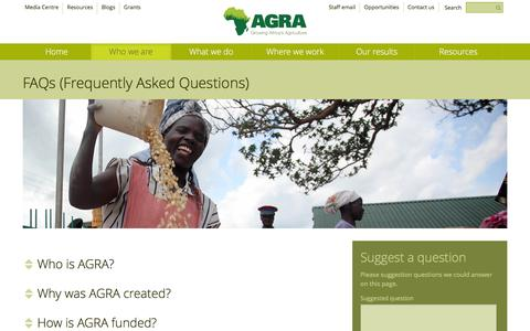 Screenshot of FAQ Page agra.org - AGRA | FAQs (Frequently Asked Questions) | Who we are - captured Feb. 5, 2016