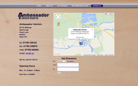 Screenshot of Contact Page ambassadorinteriors.com - contact us | Ambassador Interiors - captured Sept. 30, 2014