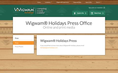Screenshot of Press Page wigwamholidays.com - Wigwam® Holidays in the press - online and print enquiries - captured Oct. 20, 2018