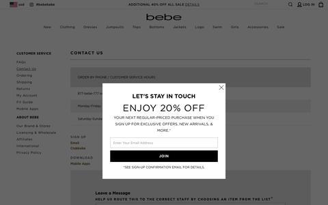 Screenshot of Contact Page bebe.com - Contact Us | bebe - captured July 30, 2019