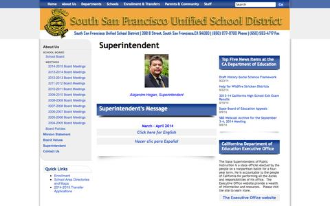 Screenshot of About Page ssfusd.org - South San Francisco Unified School District: Superintendent - captured Sept. 26, 2014