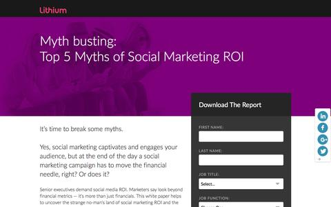 Screenshot of Landing Page lithium.com - Five Myths of Social Marketing ROI - captured March 21, 2016