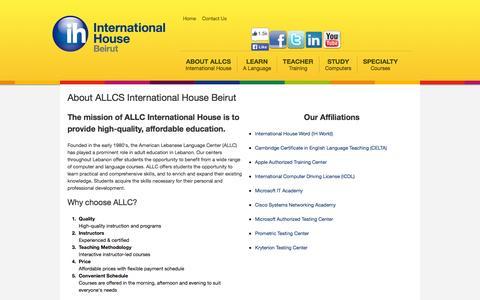 Screenshot of About Page allcs.edu.lb - ALLCS International House Beirut - captured Oct. 4, 2014