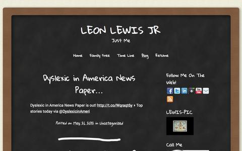 Screenshot of Blog leonlewis.com - Blog   Leon Lewis Jr   Just Me - captured Oct. 2, 2014