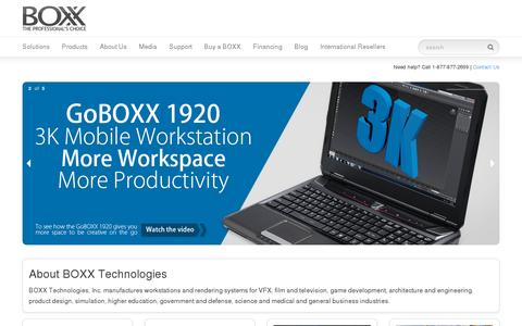 Screenshot of Home Page boxxtech.com - BOXX Technologies - World's Fastest Workstations - captured July 12, 2014