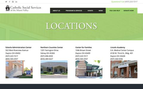 Screenshot of Locations Page cssmv.org - Locations | Catholic Social Services - captured Sept. 27, 2018