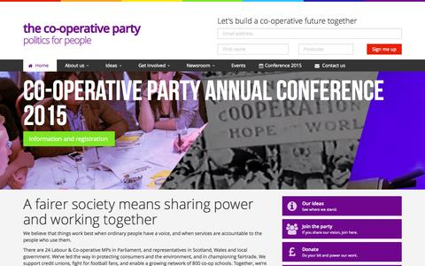 Screenshot of Home Page party.coop - the Co-operative Party | Politics for people - captured Aug. 14, 2015