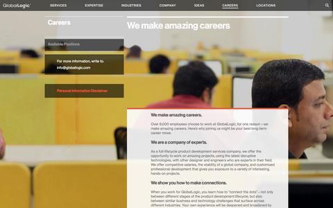 Screenshot of Jobs Page globallogic.com - GlobalLogic | Careers - captured Nov. 10, 2015