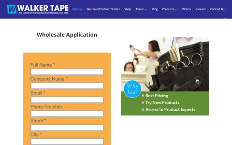 Screenshot of Signup Page walkertapeco.com - Wholesale Application-Walker Tape-Buy Direct From The Manufacturer - captured Sept. 20, 2018