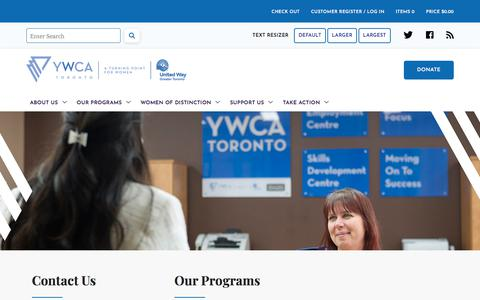 Screenshot of Contact Page ywcatoronto.org - Contact Us - captured July 27, 2018