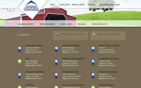 Screenshot of Locations Page winslowsinc.com - Locations | Texas | Oklahoma | Louisiana | Winslows Inc. - captured Oct. 21, 2017