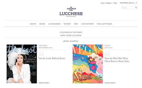 Screenshot of Press Page lucchese.com - Press |                           Lucchese - since 1883 - captured Sept. 25, 2014