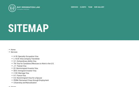 Screenshot of Site Map Page bayimmigrationlaw.com - Sitemap — Bay Immigration Law - captured Nov. 6, 2018