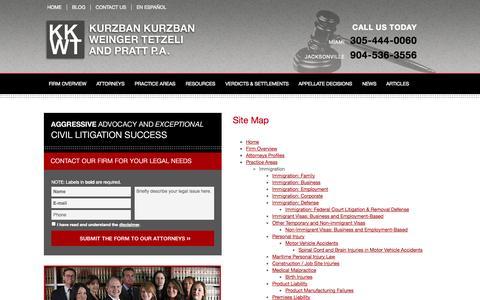 Screenshot of Site Map Page kkwtlaw.com - Site Map - Law Firm Kurzban Kurzban Weinger & Tetzeli Attorneys Miami, Florida - captured Oct. 6, 2014