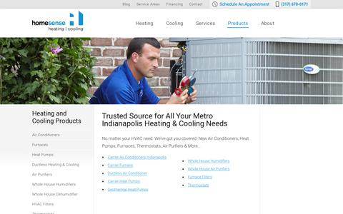 Screenshot of Products Page trusthomesense.com - Heating and Cooling Products | Homesense Heating and Cooling Indiana - captured Jan. 31, 2016