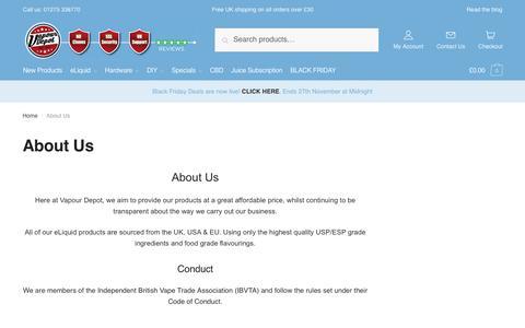Screenshot of About Page vapourdepot.com - About Us | Vapour Depot Limited - captured Nov. 20, 2018