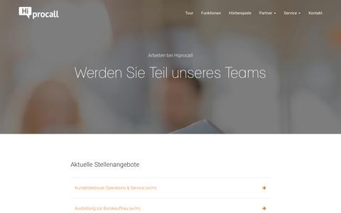 Screenshot of Jobs Page hiprocall.de - Jobs | Hiprocall - captured Jan. 2, 2017