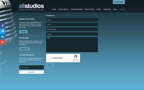 Screenshot of Contact Page allstudios.co.uk - Contact - AllStudios - captured Nov. 20, 2016