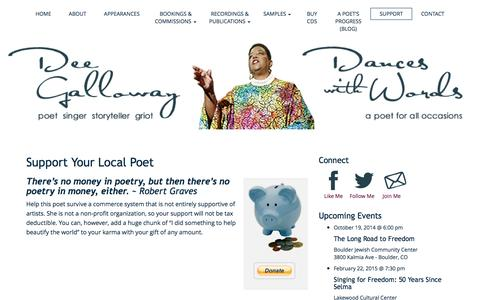 Screenshot of Support Page deegalloway.com - Support Your Local Poet | Dee Galloway ~ Dances With Words - captured Oct. 5, 2014