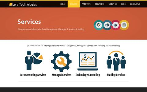 Screenshot of Services Page leratechnologies.com - Data Management Services | Lera Technologies - captured July 18, 2018