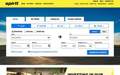 Screenshot of spirit.com - Book flight tickets online with low-fare airline Spirit Airlines - captured Dec. 12, 2018