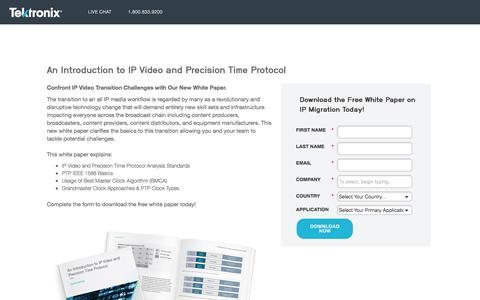 Screenshot of Landing Page tek.com - Tektronix   Introduction to IP Video and Precision Time Protocol - captured Aug. 15, 2016