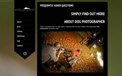 Screenshot of FAQ Page blacklabpictures.co.uk - Dog photographer London FAQs | London dog photographer - captured Sept. 30, 2014
