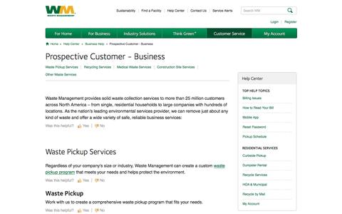 Screenshot of Support Page wm.com - Prospective Customer   Business Help Center - captured Jan. 26, 2017