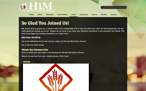 Screenshot of Press Page hmcwired.com - Media «  Harvest International Ministries - captured Oct. 2, 2014