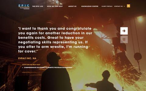 Screenshot of Home Page epicbrokers.com - HOME- EPIC INSURANCE - captured Dec. 7, 2015