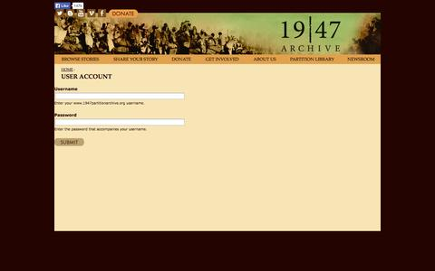 Screenshot of Login Page 1947partitionarchive.org - User account | www.1947partitionarchive.org - captured Oct. 6, 2014