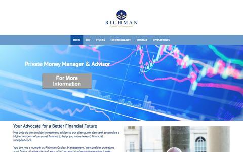 Screenshot of Home Page yourfinancialzen.com - Home - Richman Capital Management - captured Oct. 25, 2017