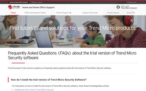 Frequently Asked Questions (FAQs) about the trial version of Trend Micro Security software
