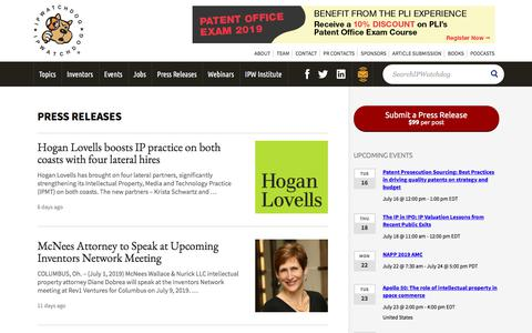 Screenshot of Press Page ipwatchdog.com - Press Releases - IPWatchdog.com | Patents & Patent Law - captured July 13, 2019
