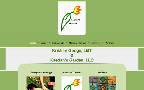 Screenshot of Home Page kaedansgarden.com - Home - Kaedan's Garden, LLC - captured Sept. 30, 2014