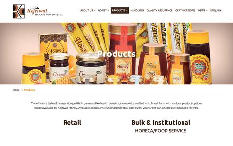 Screenshot of Products Page kejriwalhoney.com - Natural Honey From India, Natural Sweeteners, Natural Honey Suppliers from India. - captured Oct. 15, 2018