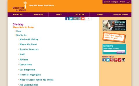 Screenshot of Site Map Page globalfundforwomen.org - Site Map - Global Fund for Women - captured Oct. 27, 2014