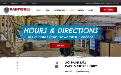 Screenshot of Maps & Directions Page Hours Page agpaintball.com - Hours & Directions   AG Paintball Park - captured Oct. 31, 2018