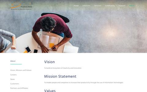 Screenshot of About Page sysbiz.com - Sysbiz Technologies |   Vision, Mission and Values - captured Nov. 19, 2018