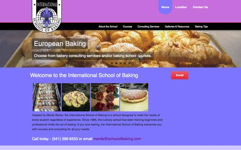 Screenshot of Home Page schoolofbaking.com - International School of Baking   teaching excellence in baking - captured Sept. 7, 2015