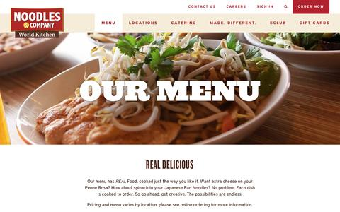 Screenshot of Menu Page noodles.com - Noodles & Company Menu - Noodles, Pasta, Salads & More - captured Dec. 15, 2015
