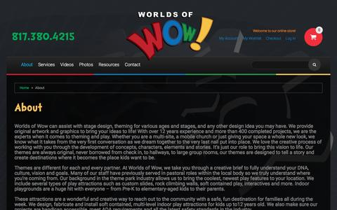 Screenshot of About Page worldsofwow.com - About - captured Nov. 30, 2016