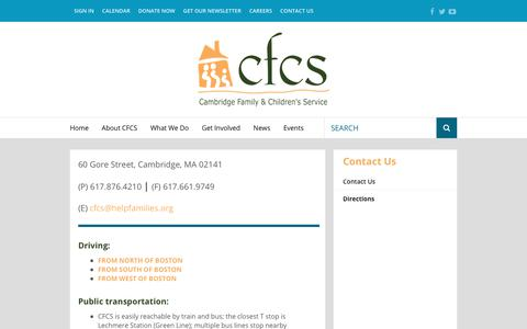 Screenshot of Maps & Directions Page helpfamilies.org - Cambridge Family & Children's Service : About CFCS : Contact Us : Directions - captured July 13, 2017