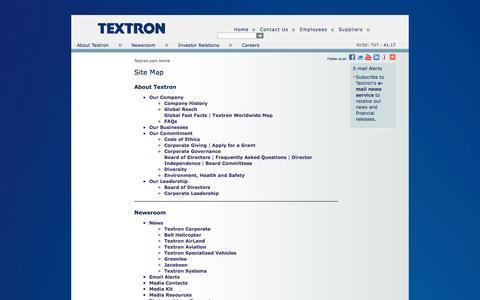Screenshot of Site Map Page textron.com - Textron.com Site Map - captured Dec. 3, 2015