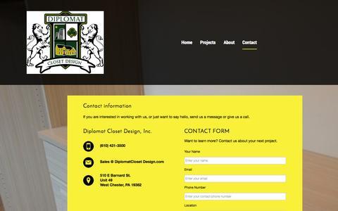 Screenshot of Contact Page diplomatclosetdesign.com - Contact - captured Sept. 30, 2014