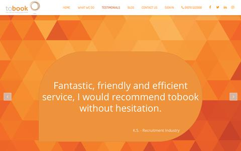 Screenshot of Testimonials Page tobook.co.uk - tobook   The Venue Finding Specialist   What our Clients are Saying - captured Nov. 11, 2017