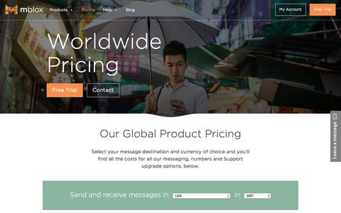 Screenshot of Pricing Page mblox.com - SMS / MMS bulk sending prices - Mblox - captured July 3, 2016